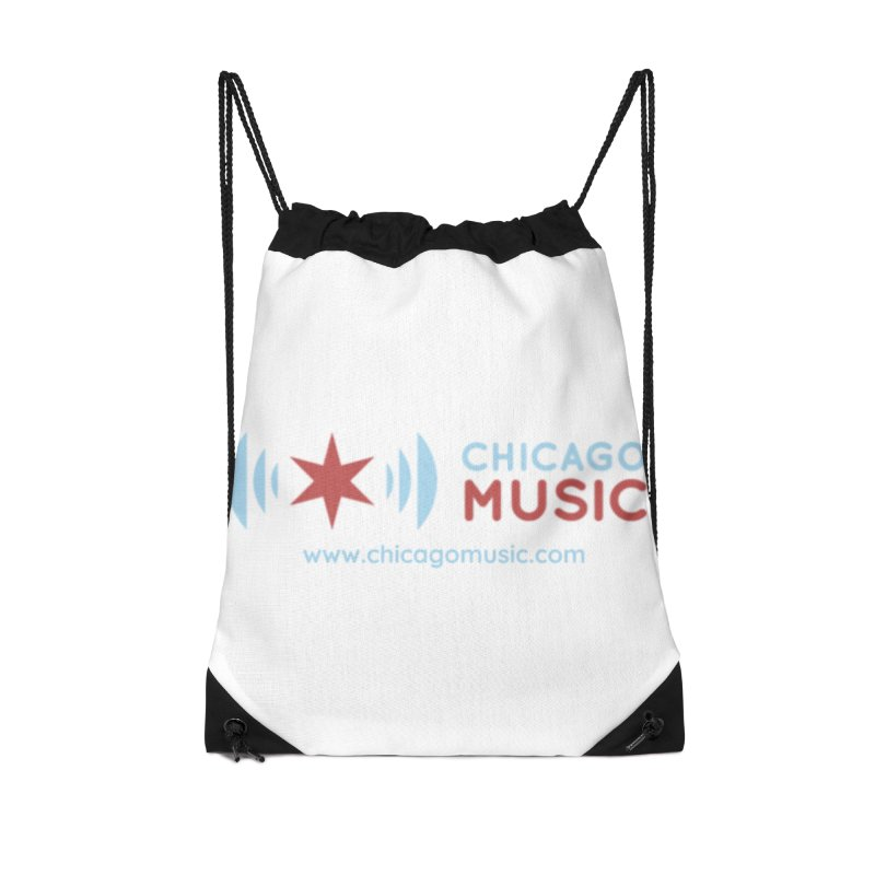 Chicago Music Logo Website Accessories Drawstring Bag Bag by Chicago Music's Apparel and Retail Shop