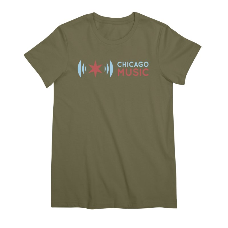 Chicago Music Logo Stacked Women's Premium T-Shirt by Chicago Music's Apparel and Retail Shop