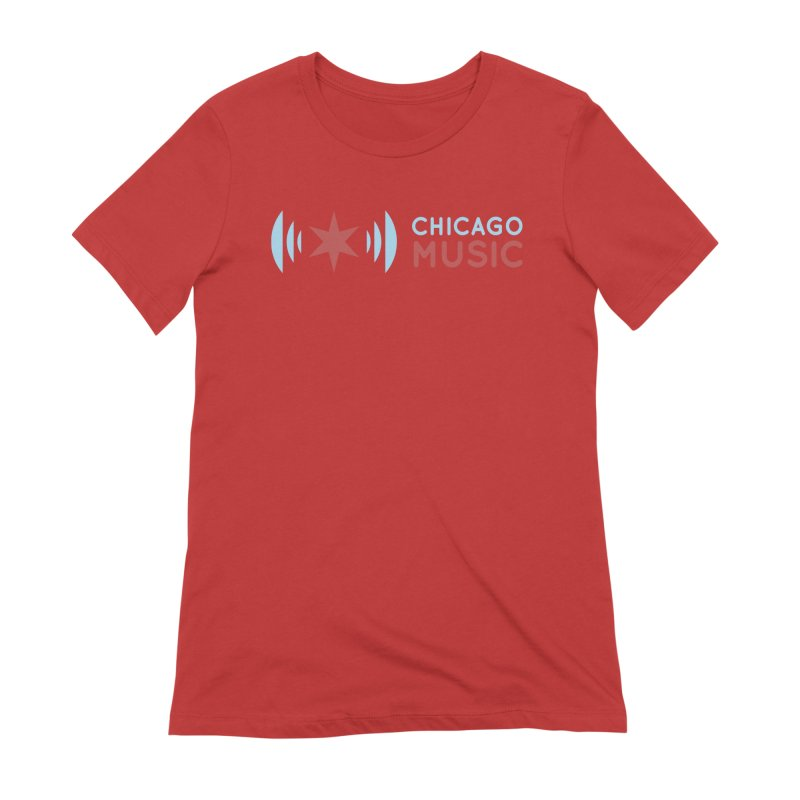 Chicago Music Logo Stacked Women's Extra Soft T-Shirt by Chicago Music's Apparel and Retail Shop