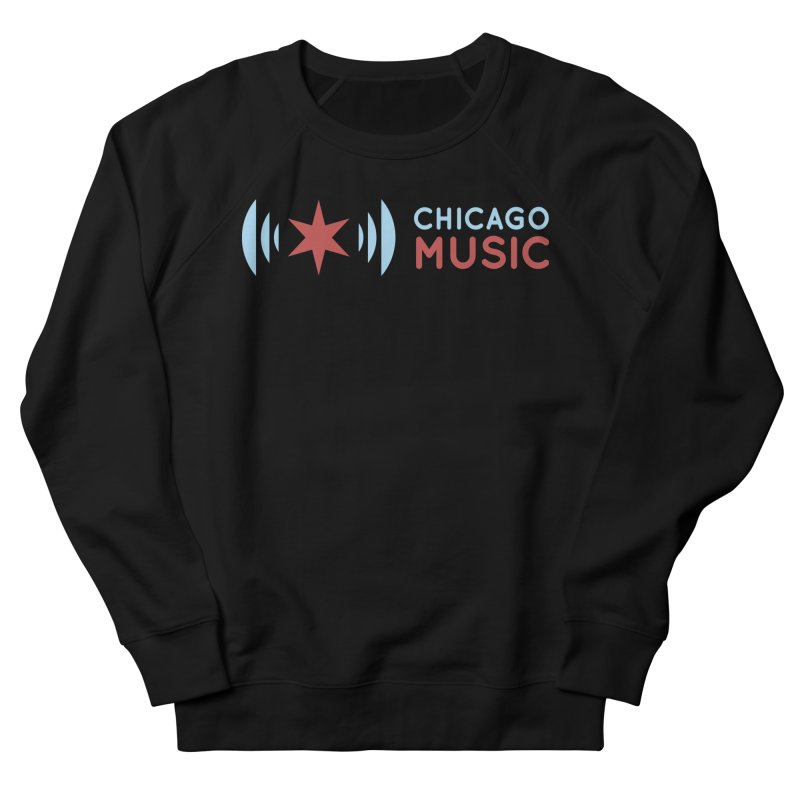Chicago Music Logo Stacked in Men's French Terry Sweatshirt Black by Chicago Music's Apparel and Retail Shop