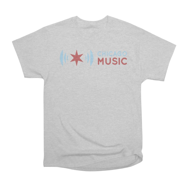 Chicago Music Logo Stacked Women's Heavyweight Unisex T-Shirt by Chicago Music's Apparel and Retail Shop