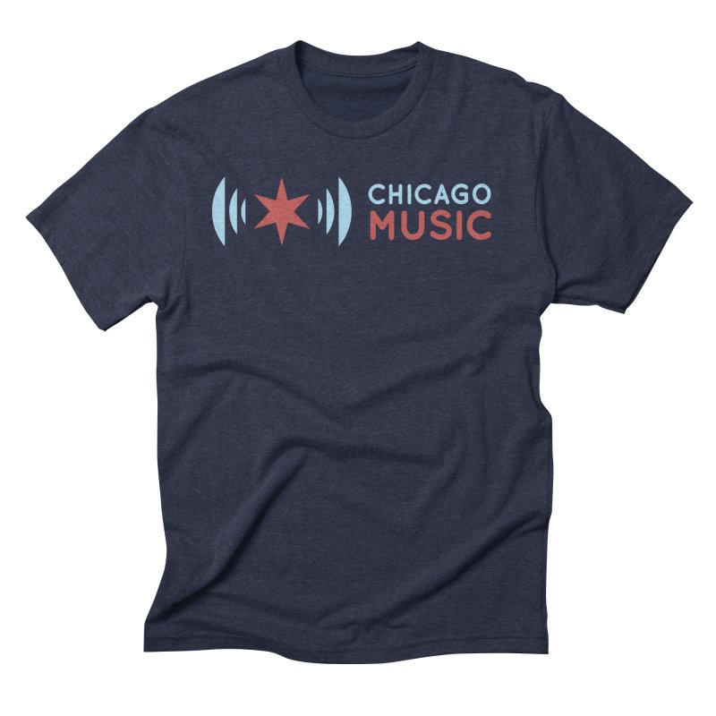 Chicago Music Logo Stacked Men's Triblend T-Shirt by Chicago Music's Apparel and Retail Shop
