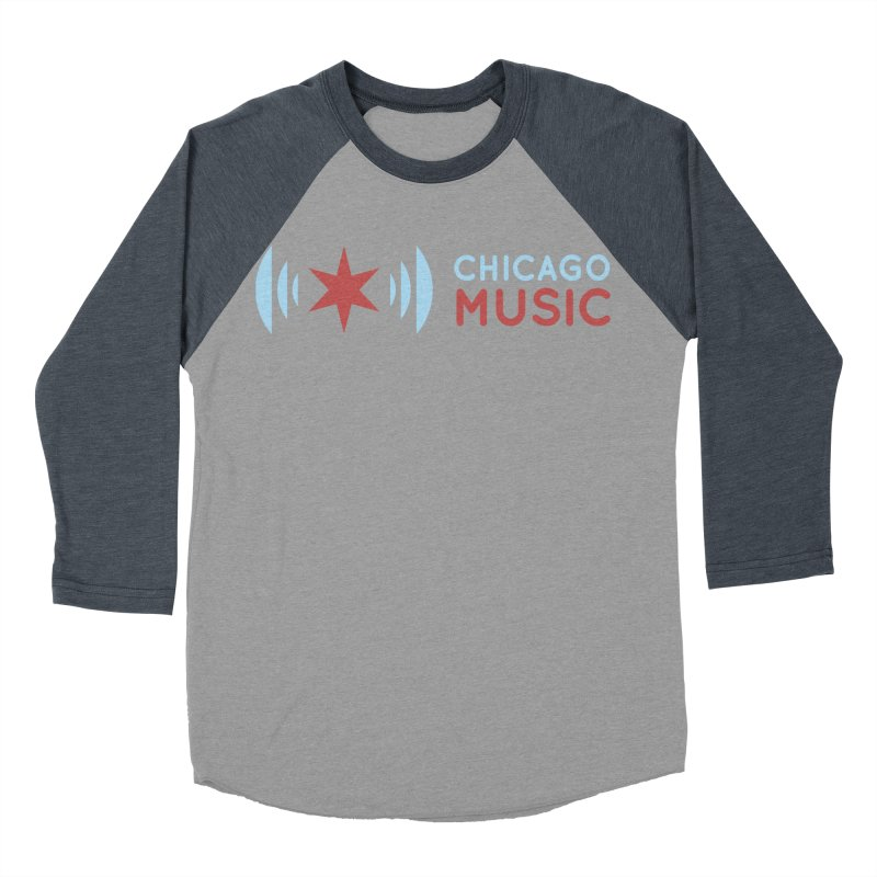 Chicago Music Logo Stacked Women's Baseball Triblend Longsleeve T-Shirt by Chicago Music's Apparel and Retail Shop