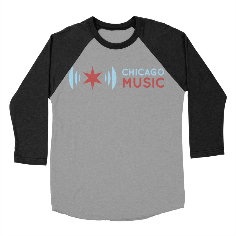Chicago Music Logo Stacked Men's Baseball Triblend T-Shirt by Chicago Music's Apparel and Retail Shop