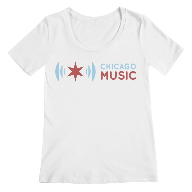 Chicago Music Logo Stacked Women's Regular Scoop Neck by Chicago Music's Apparel and Retail Shop