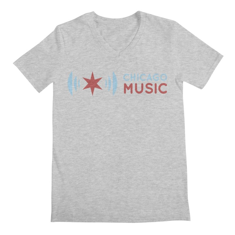Chicago Music Logo Stacked Men's V-Neck by Chicago Music's Apparel and Retail Shop
