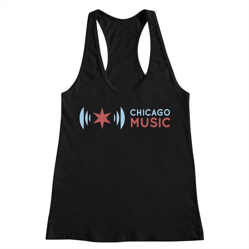 Chicago Music Logo Stacked Women's Racerback Tank by Chicago Music's Apparel and Retail Shop