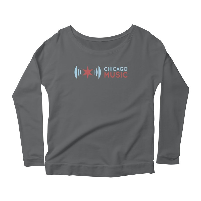 Chicago Music Logo Stacked Women's Longsleeve Scoopneck  by Chicago Music's Apparel and Retail Shop