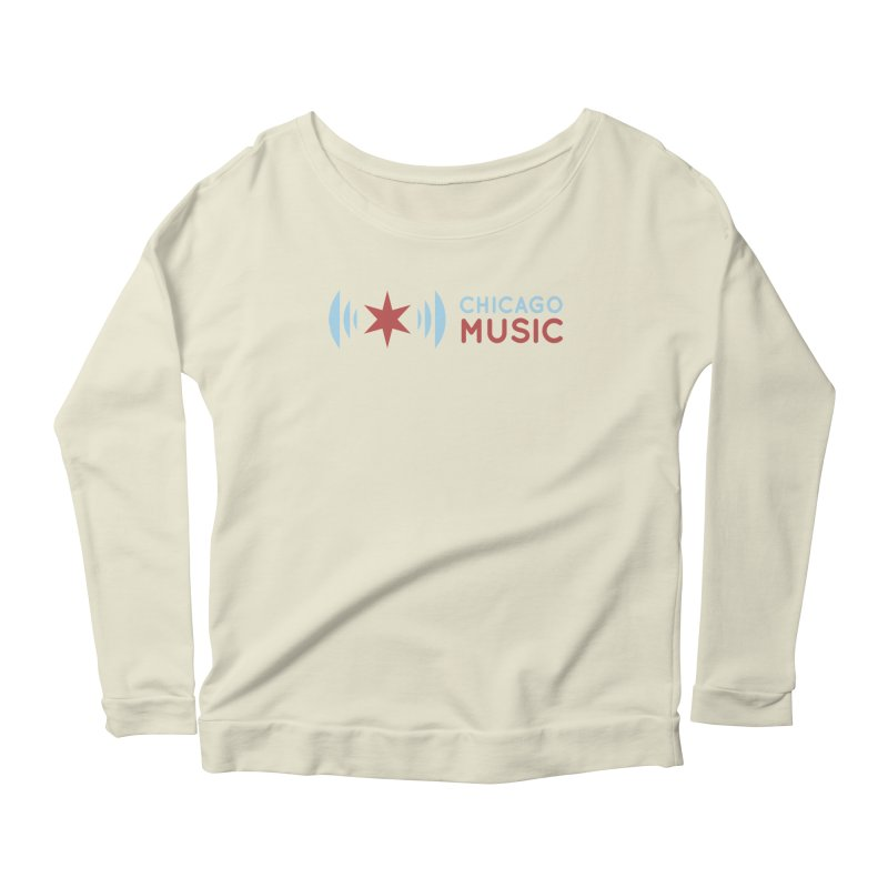 Chicago Music Logo Stacked Women's Scoop Neck Longsleeve T-Shirt by Chicago Music's Apparel and Retail Shop