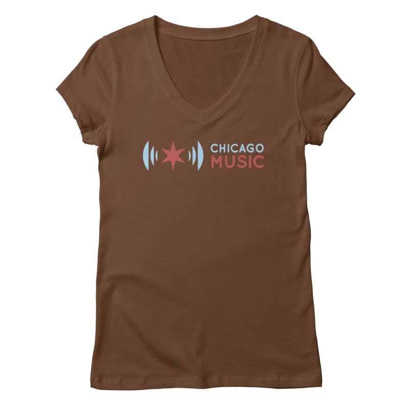 Chicago Music Logo Stacked Women's Regular V-Neck by Chicago Music's Apparel and Retail Shop