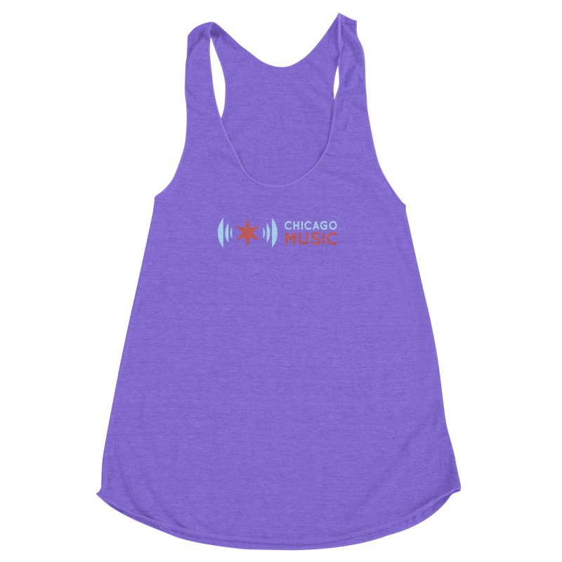Chicago Music Logo Stacked Women's Racerback Triblend Tank by Chicago Music's Artist Shop