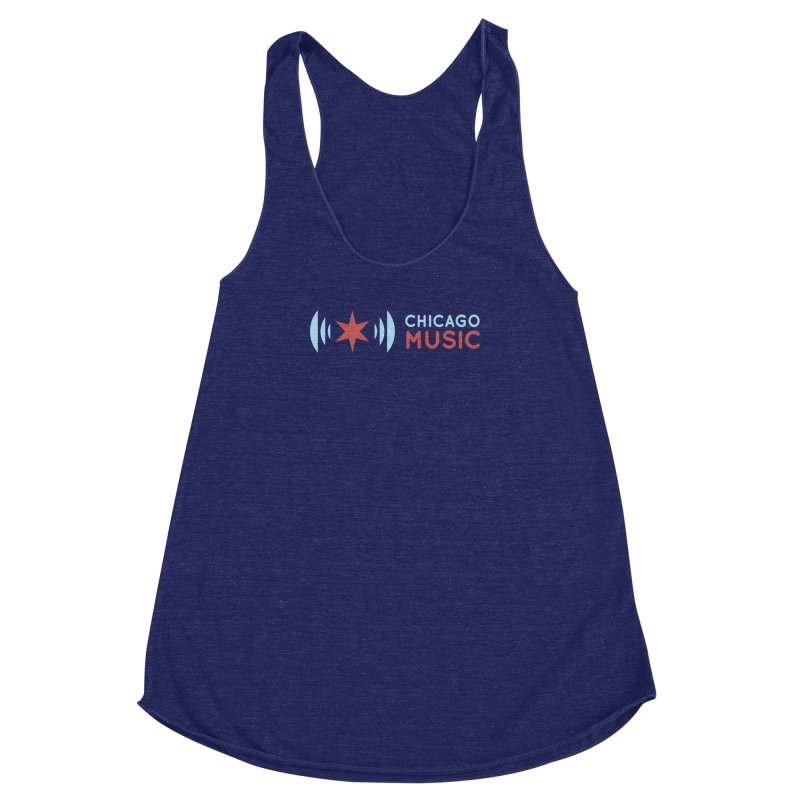 Chicago Music Logo Stacked Women's Racerback Triblend Tank by Chicago Music's Apparel and Retail Shop