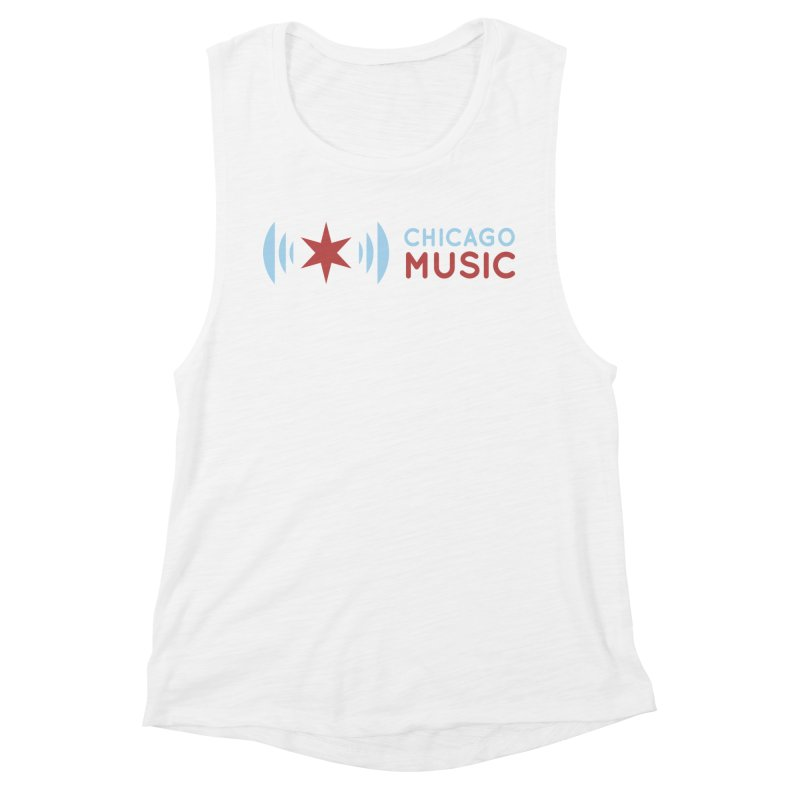 Chicago Music Logo Stacked Women's Muscle Tank by Chicago Music's Apparel and Retail Shop