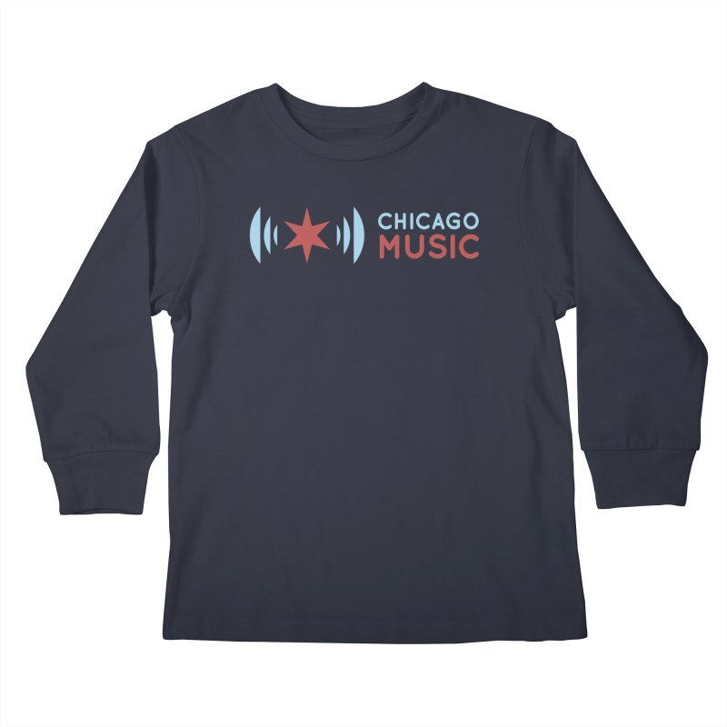 Chicago Music Logo Stacked Kids Longsleeve T-Shirt by Chicago Music's Apparel and Retail Shop