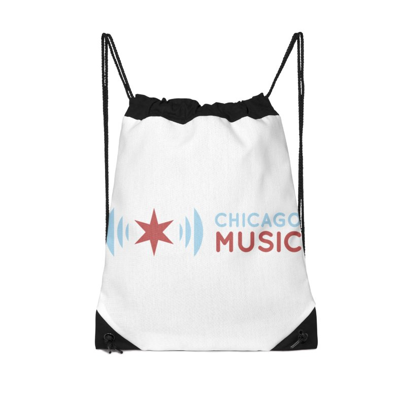 Chicago Music Logo Stacked Accessories Drawstring Bag Bag by Chicago Music's Apparel and Retail Shop