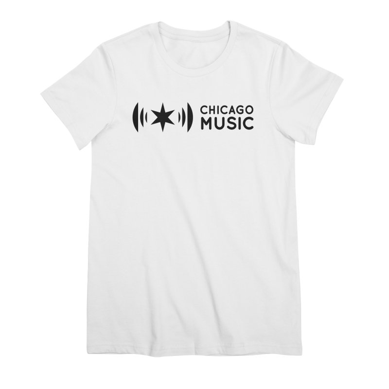 Chicago Music Logo Stack Black Women's Premium T-Shirt by Chicago Music's Apparel and Retail Shop