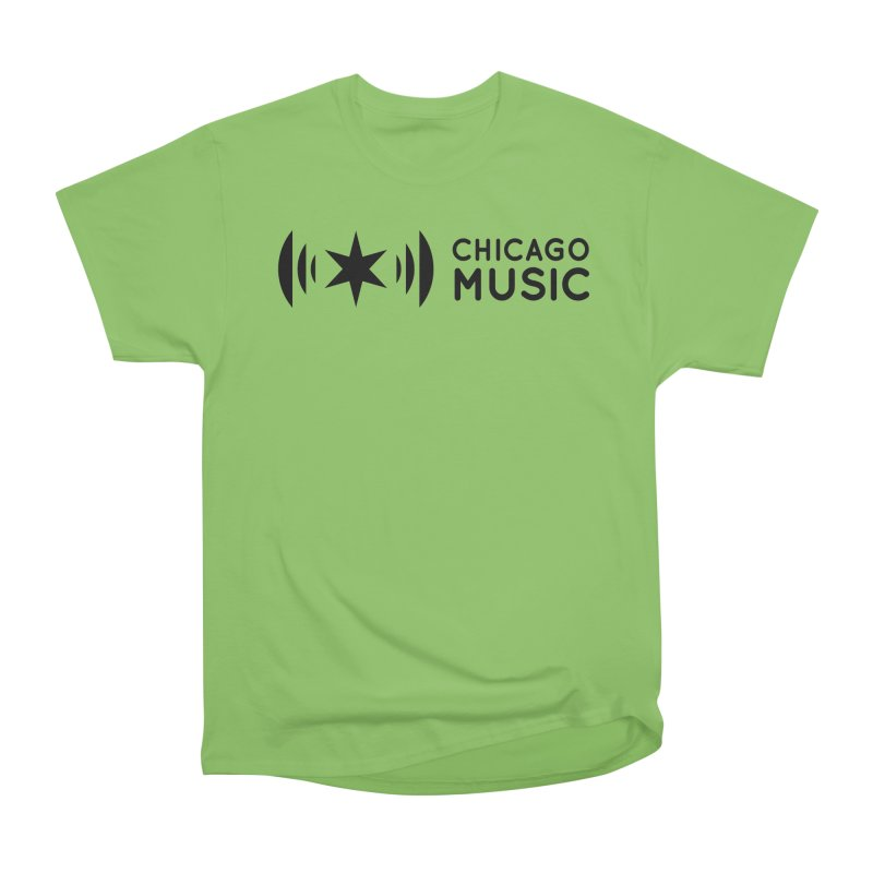 Chicago Music Logo Stack Black Men's Heavyweight T-Shirt by Chicago Music's Apparel and Retail Shop