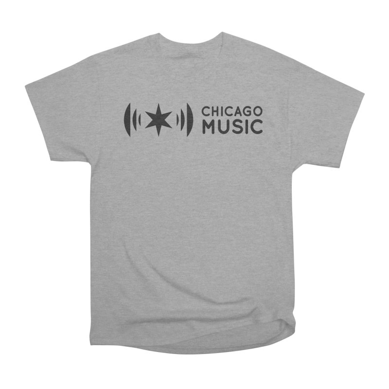 Chicago Music Logo Stack Black Women's Heavyweight Unisex T-Shirt by Chicago Music's Apparel and Retail Shop
