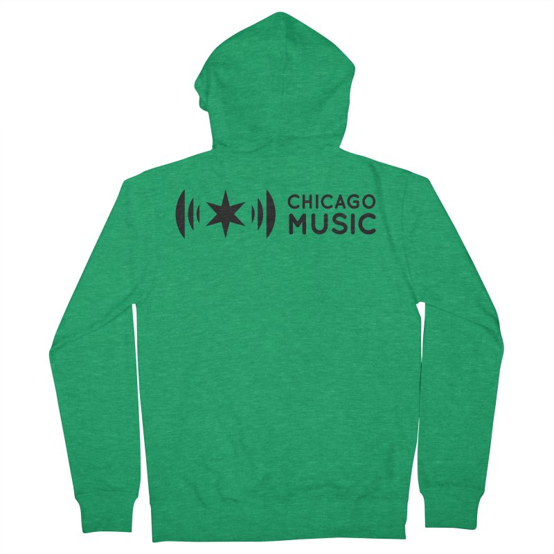 Chicago Music Logo Stack Black Women's Zip-Up Hoody by Chicago Music's Apparel and Retail Shop