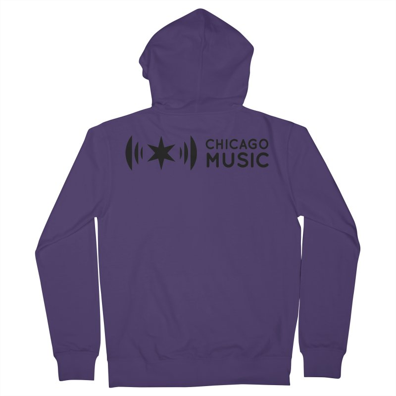 Chicago Music Logo Stack Black Women's French Terry Zip-Up Hoody by Chicago Music's Apparel and Retail Shop