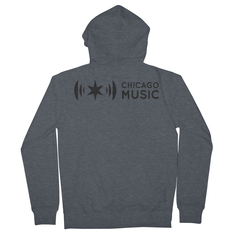 Chicago Music Logo Stack Black Men's French Terry Zip-Up Hoody by Chicago Music's Apparel and Retail Shop