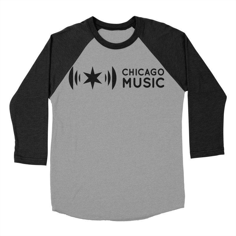 Chicago Music Logo Stack Black Women's Baseball Triblend T-Shirt by Chicago Music's Apparel and Retail Shop