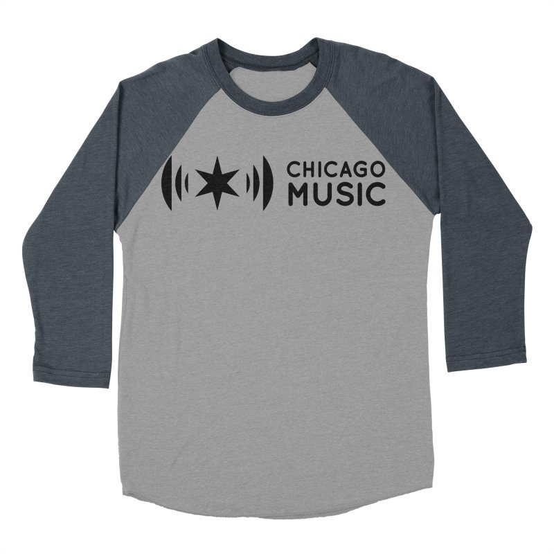 Chicago Music Logo Stack Black Men's Baseball Triblend T-Shirt by Chicago Music's Apparel and Retail Shop
