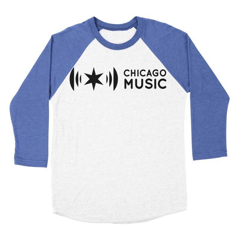 Chicago Music Logo Stack Black Men's Baseball Triblend Longsleeve T-Shirt by Chicago Music's Apparel and Retail Shop