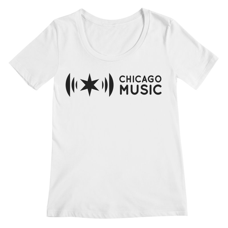 Chicago Music Logo Stack Black Women's Regular Scoop Neck by Chicago Music's Apparel and Retail Shop