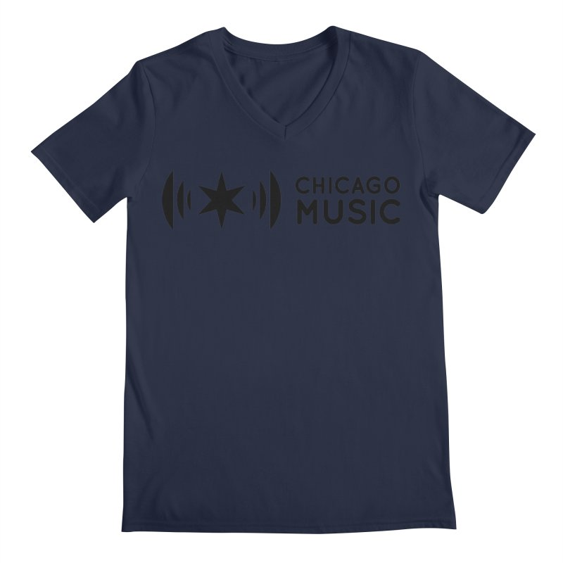 Chicago Music Logo Stack Black Men's V-Neck by Chicago Music's Apparel and Retail Shop