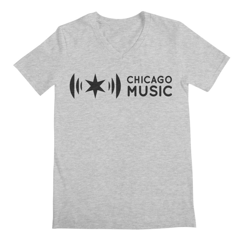 Chicago Music Logo Stack Black Men's Regular V-Neck by Chicago Music's Apparel and Retail Shop