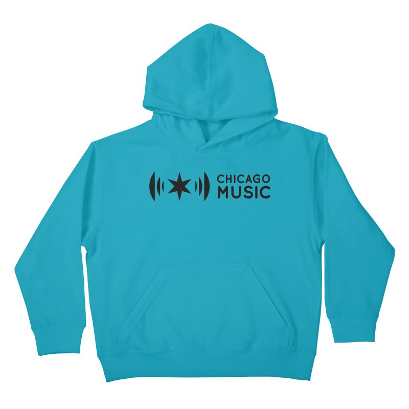 Chicago Music Logo Stack Black Kids Pullover Hoody by Chicago Music's Apparel and Retail Shop