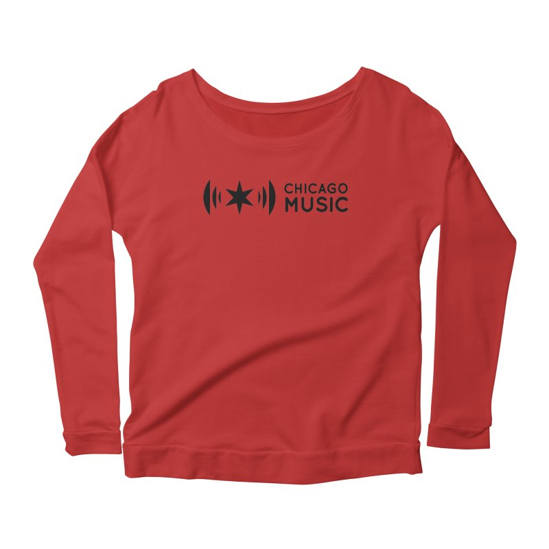 Chicago Music Logo Stack Black Women's Scoop Neck Longsleeve T-Shirt by Chicago Music's Apparel and Retail Shop