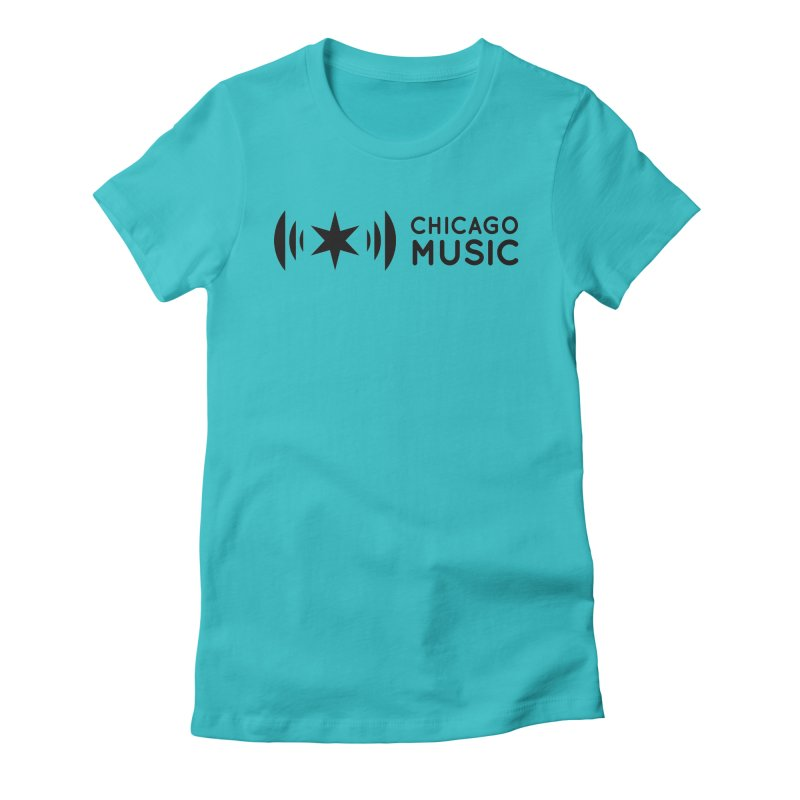 Chicago Music Logo Stack Black Women's Fitted T-Shirt by Chicago Music's Apparel and Retail Shop