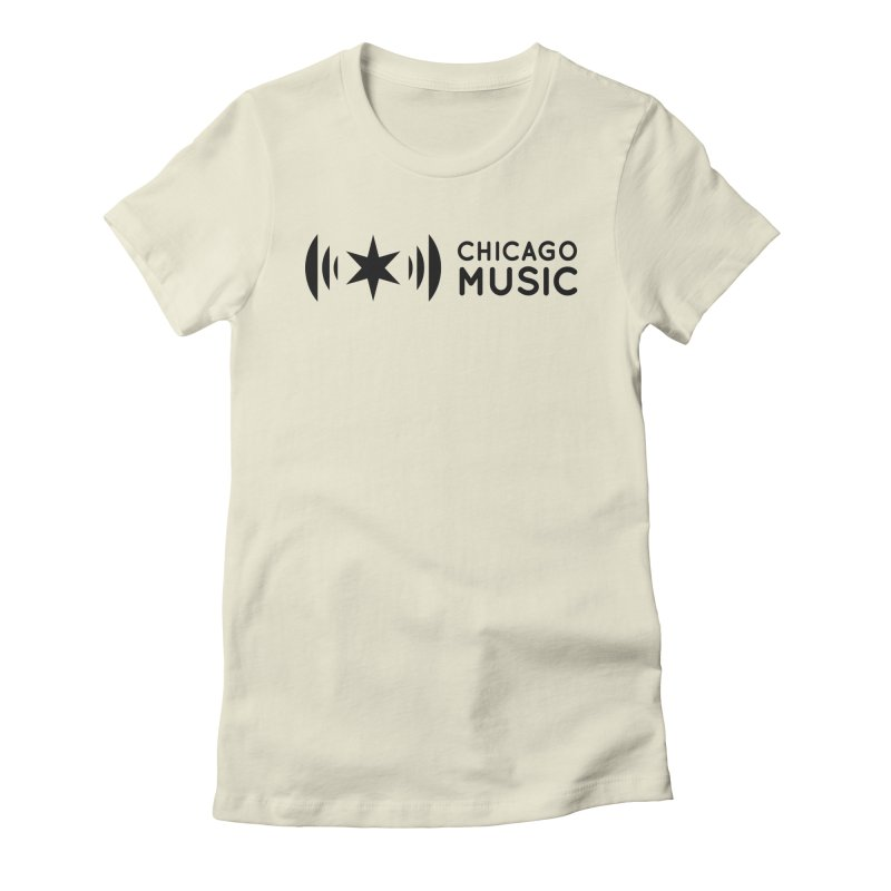 Chicago Music Logo Stack Black Women's Fitted T-Shirt by Chicago Music's Artist Shop