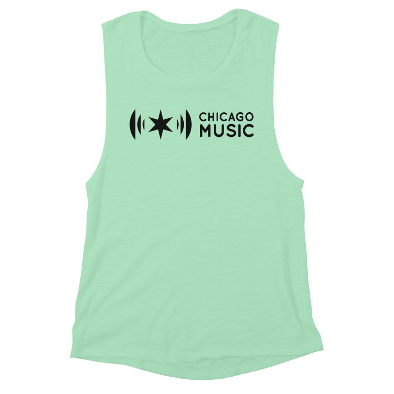 Chicago Music Logo Stack Black Women's Muscle Tank by Chicago Music's Apparel and Retail Shop