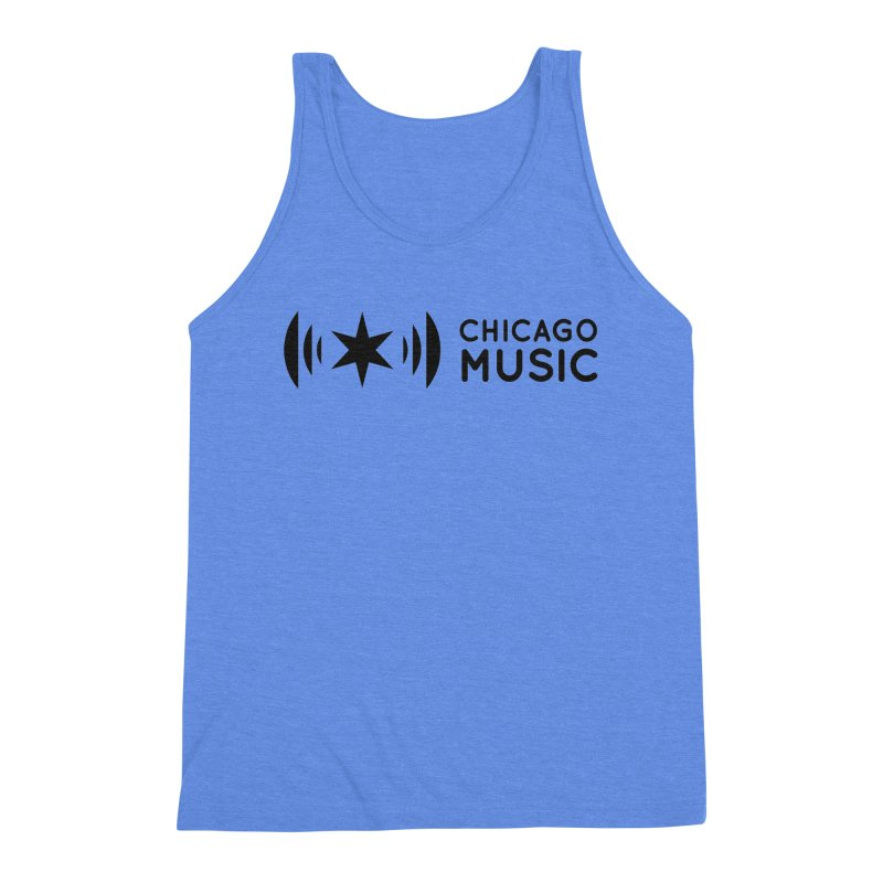 Chicago Music Logo Stack Black Men's Triblend Tank by Chicago Music's Apparel and Retail Shop
