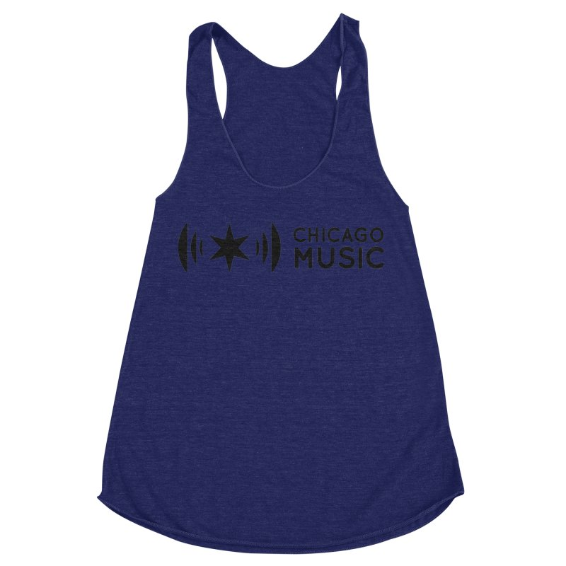 Chicago Music Logo Stack Black Women's Racerback Triblend Tank by Chicago Music's Apparel and Retail Shop