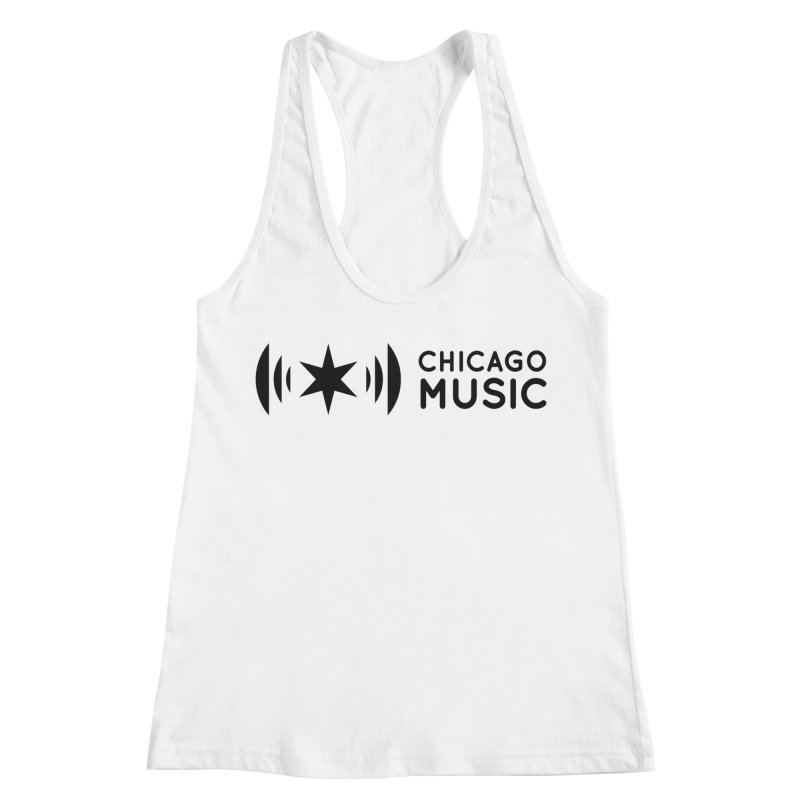 Chicago Music Logo Stack Black Women's Racerback Tank by Chicago Music's Apparel and Retail Shop