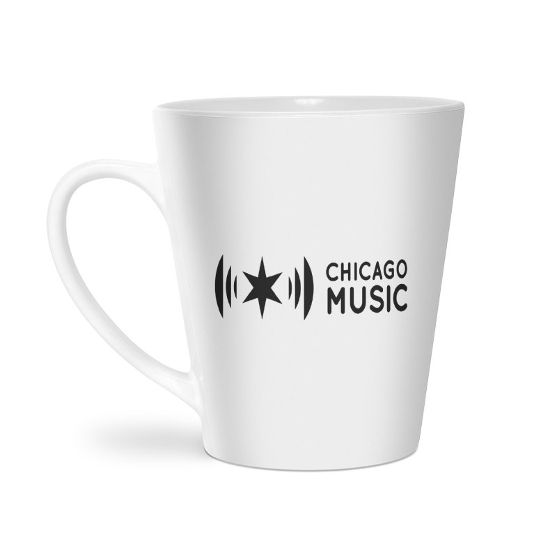 Chicago Music Logo Stack Black Accessories Latte Mug by Chicago Music's Apparel and Retail Shop