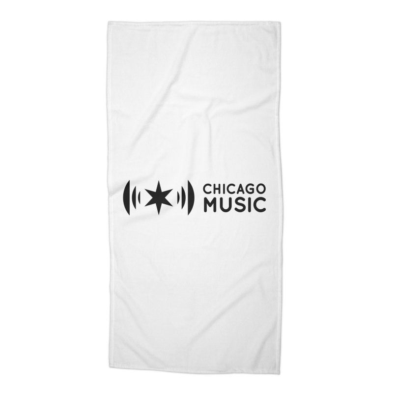 Chicago Music Logo Stack Black Accessories Beach Towel by Chicago Music's Apparel and Retail Shop