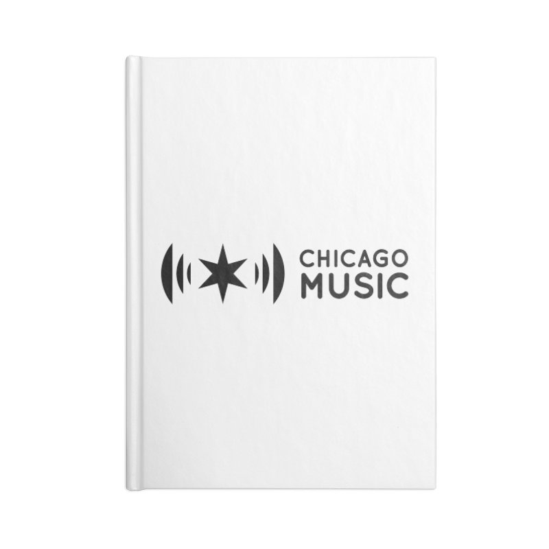 Chicago Music Logo Stack Black Accessories Lined Journal Notebook by Chicago Music's Apparel and Retail Shop