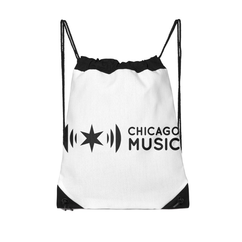 Chicago Music Logo Stack Black Accessories Drawstring Bag Bag by Chicago Music's Apparel and Retail Shop