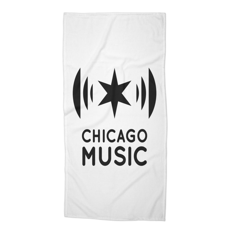 Chicago Music Logo Black Accessories Beach Towel by Chicago Music's Artist Shop