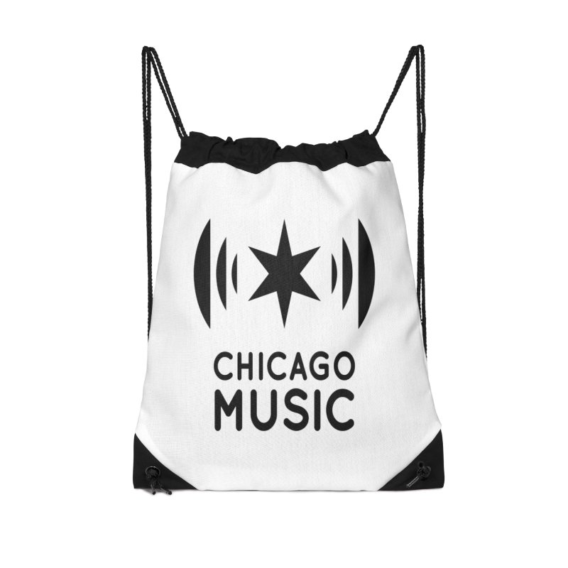 Chicago Music Logo Black Accessories Drawstring Bag Bag by Chicago Music's Apparel and Retail Shop