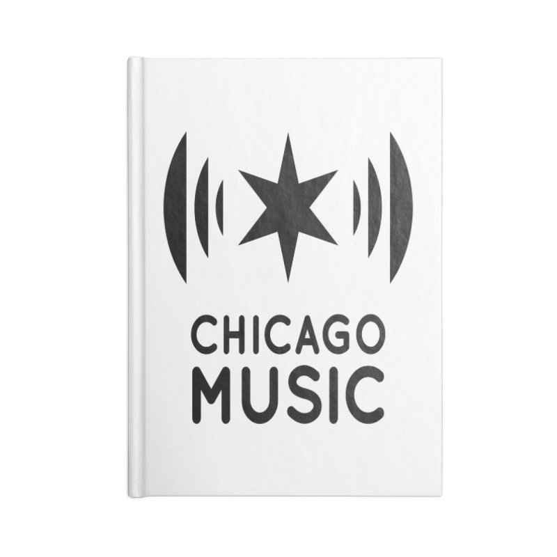 Chicago Music Logo Black Accessories Lined Journal Notebook by Chicago Music's Apparel and Retail Shop