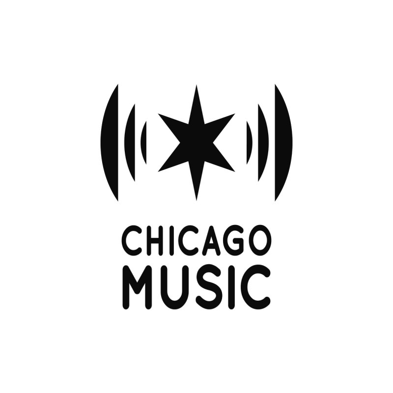 Chicago Music Logo Black Accessories Sticker by Chicago Music's Apparel and Retail Shop