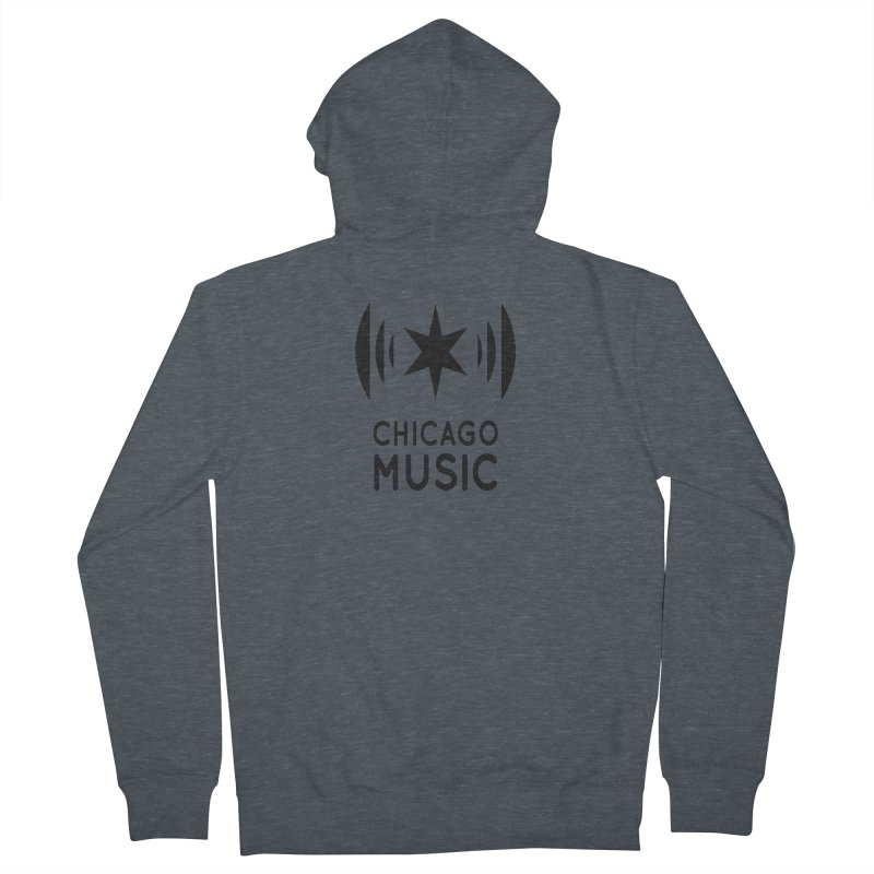 Chicago Music Logo Black Men's French Terry Zip-Up Hoody by Chicago Music's Apparel and Retail Shop