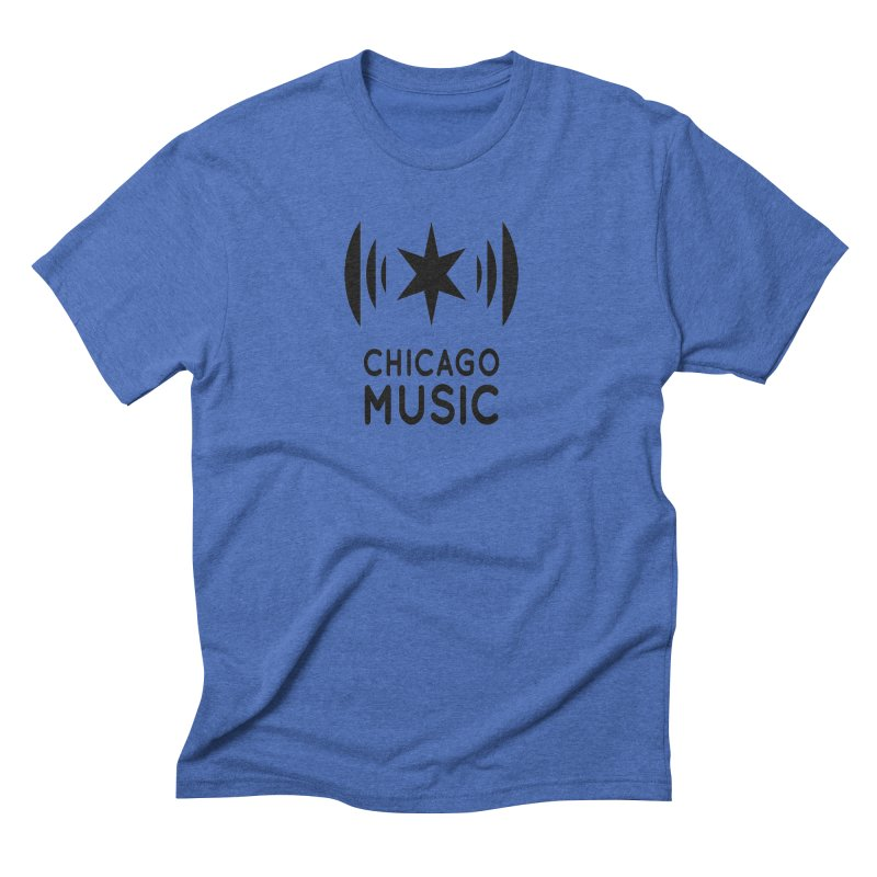 Chicago Music Logo Black Men's Triblend T-Shirt by Chicago Music's Apparel and Retail Shop