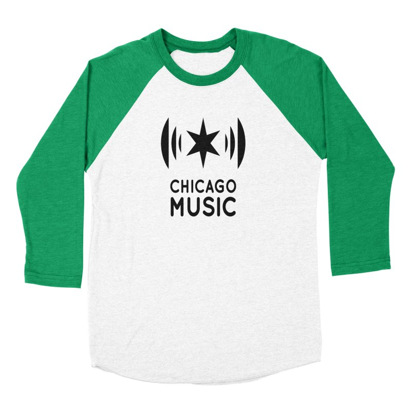 Chicago Music Logo Black Women's Baseball Triblend Longsleeve T-Shirt by Chicago Music's Apparel and Retail Shop